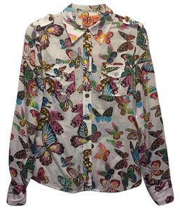 Tory Burch Button Down Shirt White with colorful butterfly print