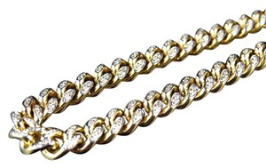 Other Solid Yellow Gold Miami Cuban 6.2 MM Real Diamond Chain Necklace 5 ct
