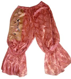 MAGNOLIA PEARL Satin Silk Embroidery Asian Baggy Pants Peach