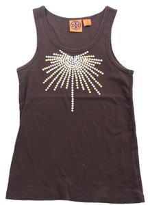 Tory Burch Gold Silver Sleeveless Top Brown
