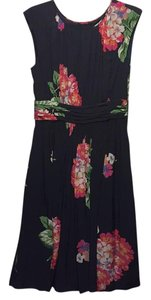 Boden short dress Navy with pink and green floral on Tradesy