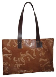 Falor Leather Engraved Tote in brown & tan