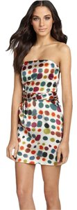 Theory short dress Multicolor Silk Woven Printed Strapless on Tradesy