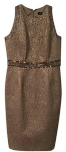 Carmen Marc Valvo Rhinestone Formal Gold Jacquard Dress