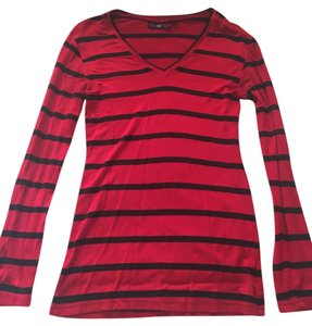Love Charm Black Knit Long Sleeve Top Red