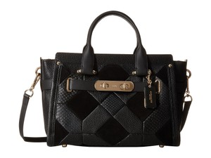 Coach Swagger Leather Patchwork Crossbody Tote in Black
