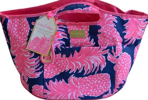 Lilly Pulitzer Floral Icon Classic Blue and Pink Beach Bag