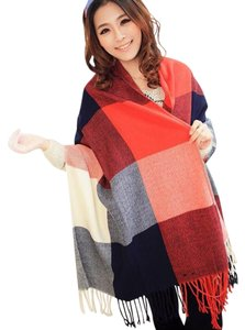 Cashmere Pashmina Group Red/Navy* Wool Cashmere Plaid Scarf