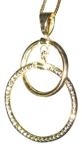 Gold Double Circle Smooth & Sparkle Pendant, 14 KT Solid