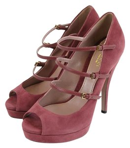 Gucci Suede High Heel Platform Tibet Red Pumps