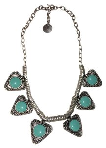 Silver Teal Stone Turkish Statement Necklace