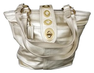 Coach Metallic Leather Gold Holiday Shoulder Bag