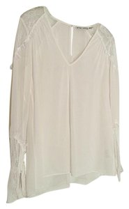 Alice + Olivia Silk + Lace Top White