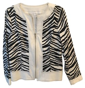 Maggy London Crop Animal Zebra Print Jacket