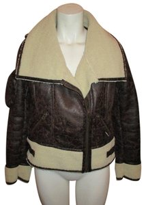 Members Only Faux Leather Distressed Bomber Flight brown Jacket