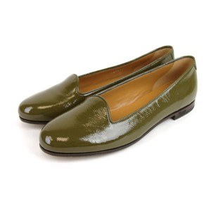 Gucci Patent Leather Ballet Olive Green Flats