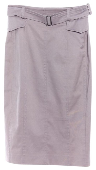 Item - Gray Belted Below Knee Cotton Straight Skirt Size 2 (XS, 26)