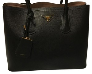 Prada Double Saffiano Cuir Double Tote in Black/light Pink