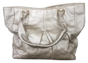 Cole Haan Metallic Leather Designer Gold Tote Shoulder Bag
