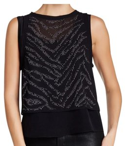Rebecca Taylor Studded Top black and silver