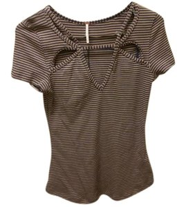 Free People T Shirt Blue and tan