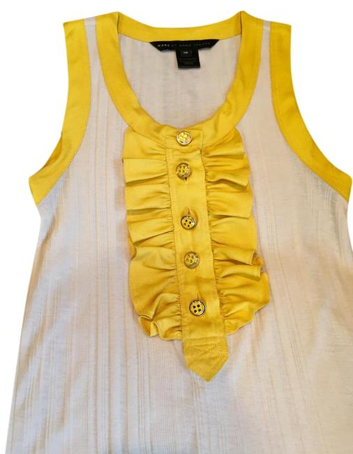 Oatmeal/Yellow Colored Ruffled Tank Tee Shirt Size 0 (XS) Oatmeal/Yellow Colored Ruffled Tank Tee Shirt Size 0 (XS) Image 1