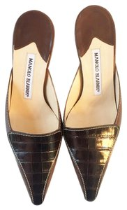 Manolo Blahnik Brown and Black Mules