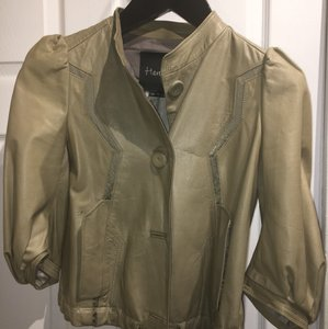 Hanii Y Grey/Green Leather Jacket