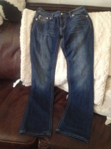 Miss Me Studded Monogram Rhinestone Boot Cut Jeans-Medium Wash