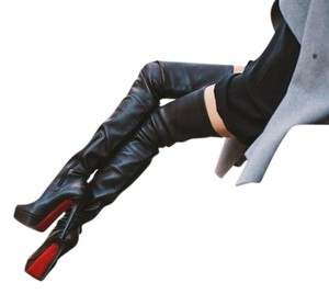 Christian Louboutin Leather Thigh High Knee High Black Boots