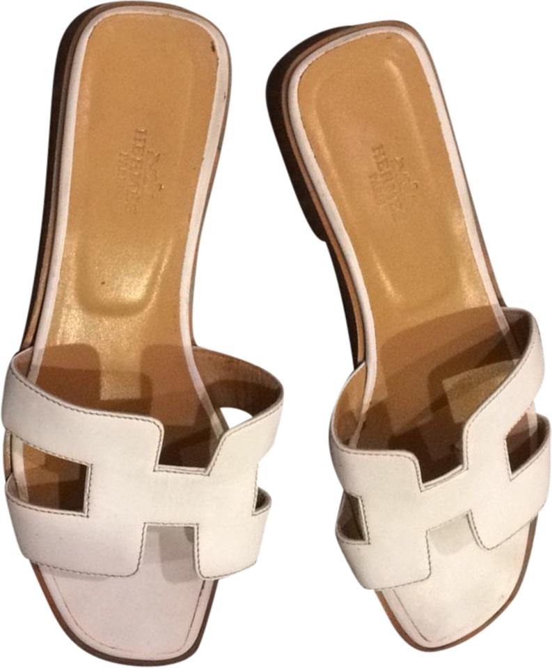 f32ea90ee70a Hermès Oran Leather Summer Spring Flats Slides Iconic White Sandals Image 0  ...