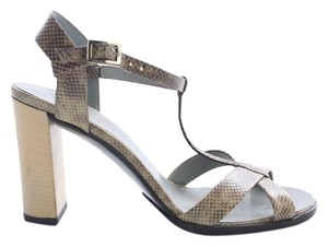 Gucci Snakeskin Tstrap High Chunky Size 35.5c Beige Pumps