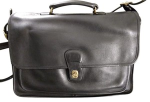 Coach Briefcase Saddle Leather Immaculate Strap Black Messenger Bag