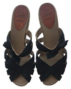 Christian Louboutin Espadrille Wedge Black Wedges