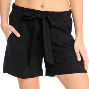 Focus 2000 Linen Vintage High Waisted Velvet Dress Shorts Black