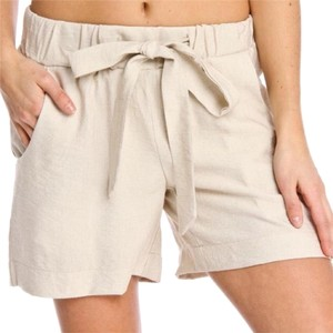 Focus 2000 Linen Comfortable High Waist Bow Dress Shorts Khaki