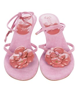 Chanel Patent Leather Embellishments Pink Sandals