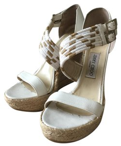 Jimmy Choo White, tan Wedges