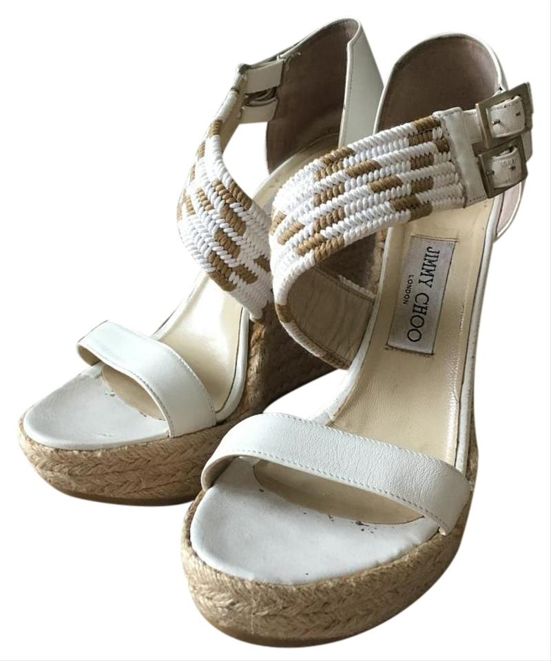 Jimmy Choo White, Tan Wedges on Sale, 51% Off | Wedges on Sale