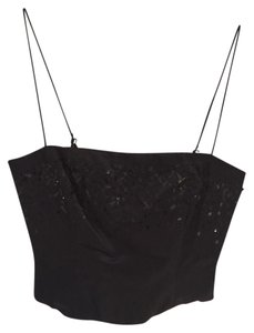 Tahari Bustier Silk Beaded Zipper Spaghetti Straps Top Black