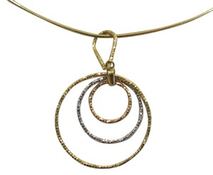 Tri-Color Graduated Three Circle Sparkle Pendant, 10 KT YG_WG_RG
