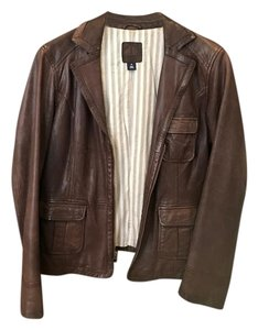 Gap chocolate Brown Leather Jacket