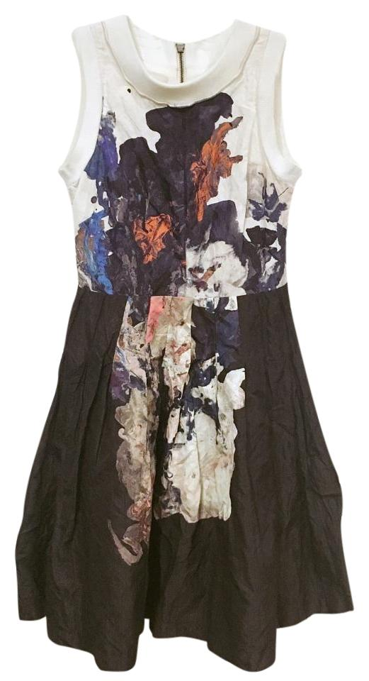 5c03566c5a Cacharel Black White Orange Blue Gray Brown Pink Floral Cocktail Dress. Size:  6 ...