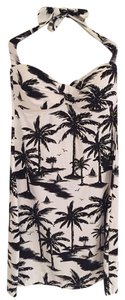 Tommy Bahama short dress Black and White Halter Palm Trees on Tradesy