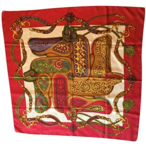 Hermès Hermes Red Multicolor Pellier Silk Scarf