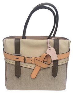 Reed Krakoff Leather Canvas Linen Tote in Beige