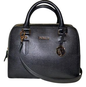 Furla Saffiano Leather Satchel in BLACK