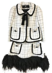 Maison Bohemique Maison Bohemique Wool Skirt Suit with Feathers