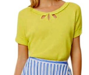 Anthropologie Bright Yellow / Keyhole Back Neck Vintage Inspired Flourescent Top Lime