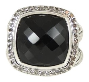 David Yurman David Yurman Sterling Silver 14mm Black Onyx Diamond Albion Ring